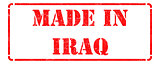 Made in Iraq - inscription on Red Rubber Stamp.