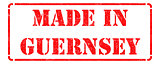 Made in Guernsey - inscription on Red Rubber Stamp.