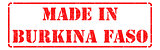 Made in Burkina Faso - inscription on Red Rubber Stamp.