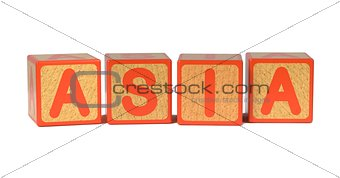 Asia on Colored Wooden Childrens Alphabet Block.