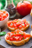 Italian bruschetta with tomatoes and basil