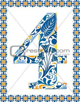 Blue number 4