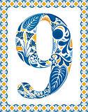 Blue number 9