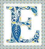 Blue letter E