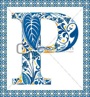Blue letter P