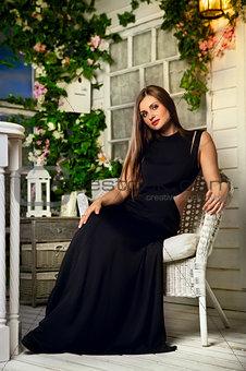 Beautiful Woman On Terrace