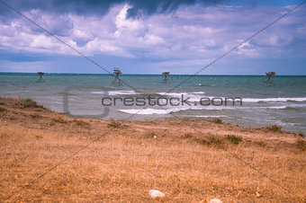 Fishing rigs in sea.