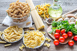 Various pasta with mushrooms and cherry tomatoes