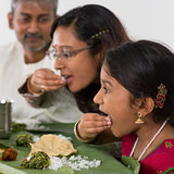 Indian family dining