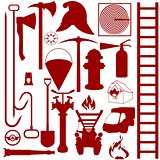 Contours of fire fighting equipment, tools and accessories