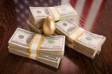 Golden Egg and Thousands of Dollars with American Flag Reflectio