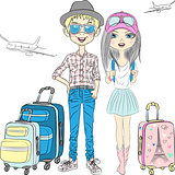 Vector hipster couplel travels the world