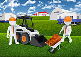 Two 3d workers with loader and wheelbarrow