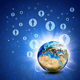 Network contacts and Earth. Hi-tech background