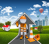 3d worker and traffic cones