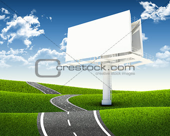 Empty billboard and road