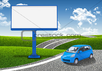 Small car and empty billboard