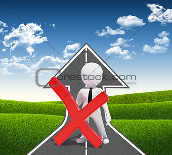 3d white man with prohibition sign. Road climbs up