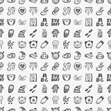seamless doodle baby pattern