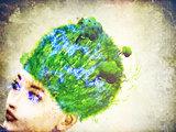 Grass on head