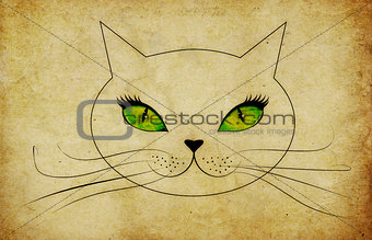 Grunge cat face with green eyes