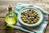 Olive oil and whole olives