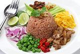 thai fried rice with shrimp paste, khao kluk kapi