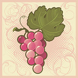 Retro-styled grape bunch