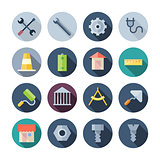 Flat Design Icons For Construction