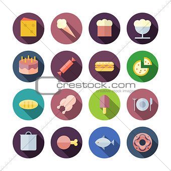 Flat Design Icons For Food