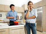 cute mature couple preparing food