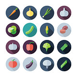 Flat Design Icons For Vegetables