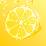 Lemon with bubbles