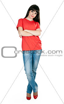 girl in red shoes and blue jeans in the studio