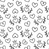 Hand drawn seamless pattern of hearts, vector