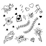 Set of hand drawn elements in tattoo style, vector illustration