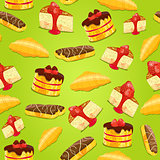 Seamless pattern with pastries