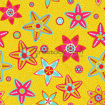 Bright Yellow Flower Seamless Background