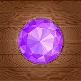 Shiny Purple Gemstone Icon on Wooden Background