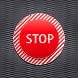 Red Stop Button on Stripe Panel