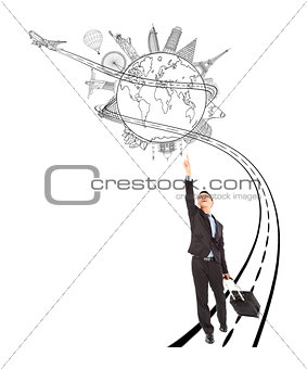 business man pulling a luggage while pointing worldwide landmark