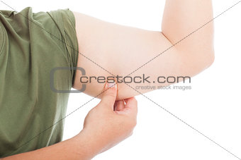 man handle knob his arm