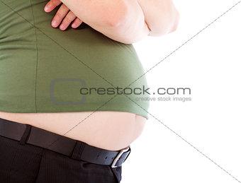 close-up fat man of  waist and  big abdomen