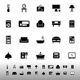 Home furniture icons on white background