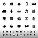 Home theater icons on white background