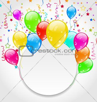 Birthday invitation with multicolored balloons and confett