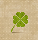 Vintage design with four-leaf clover for St. Patrick's Day
