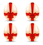 Easter set celebration egg wrapping red bow for your decoration