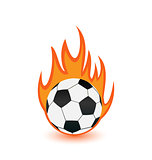 Football balls in orange fire flames