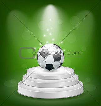 Football ball on white podium with light